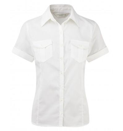 Camisa de Manga Corta Vuelta de Mujer Publicitaria Color Blanco