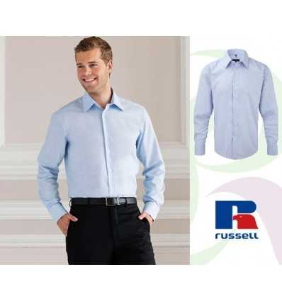 Camisa Entallada Oxford Manga Larga Merchandising Color Azul Oxford
