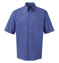 Camisa Clásica Oxford Manga Corta Color Azul Azteca