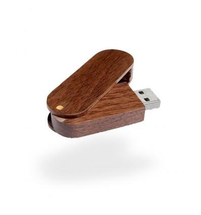 Memoria USB Rotatoria de Madera Color Marrón