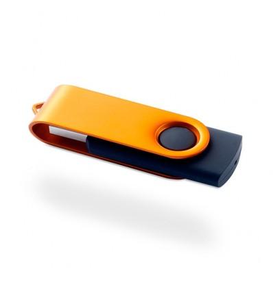 Memoria USB con Goma Negra Color Naranja