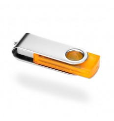 Memoria USB con Cuerpo Transparente Color Naranja