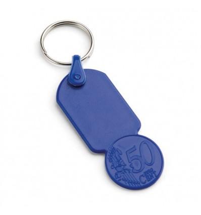 Llavero con Moneda de Plástico con Logo Personalizado Promocional Color Azul