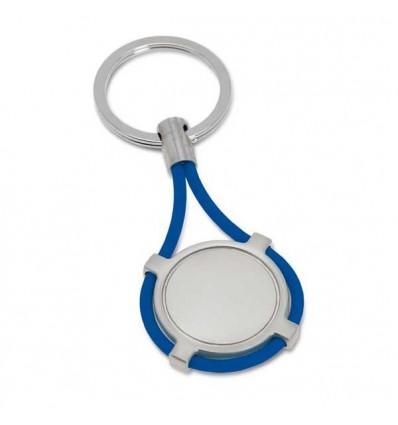 Llavero de Metal con tira de Silicona con Logo Personalizado Promocional Color Azul