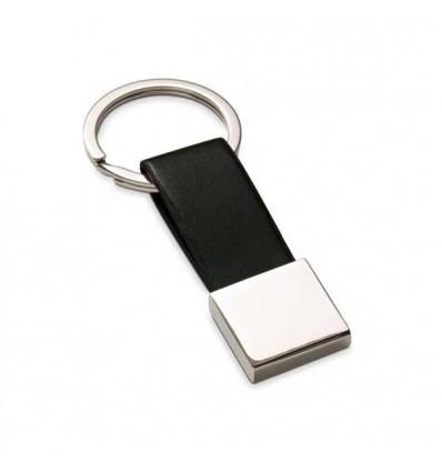 Llavero Polipiel-Metal para Publicidad de Empresa Color Negro