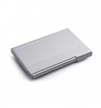 Porta-tarjetas de Aluminio para Regalo Promocional Publicitario Color Cromado Satinado