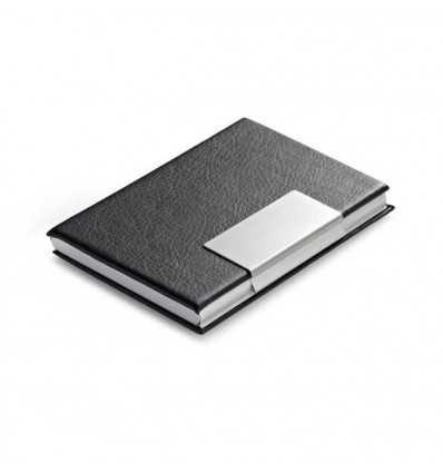 Porta-tarjetas de Aluminio y Polipiel para Merchandising Color Negro