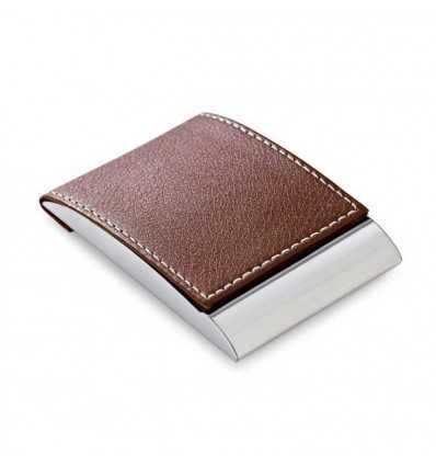 Porta-tarjetas de Metal y Polipiel con Logo de Empresa Color Marrón