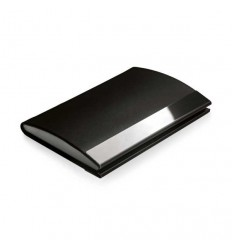 Porta-tarjetas de Polipiel y Metal con Logo Publicitario Color Negro